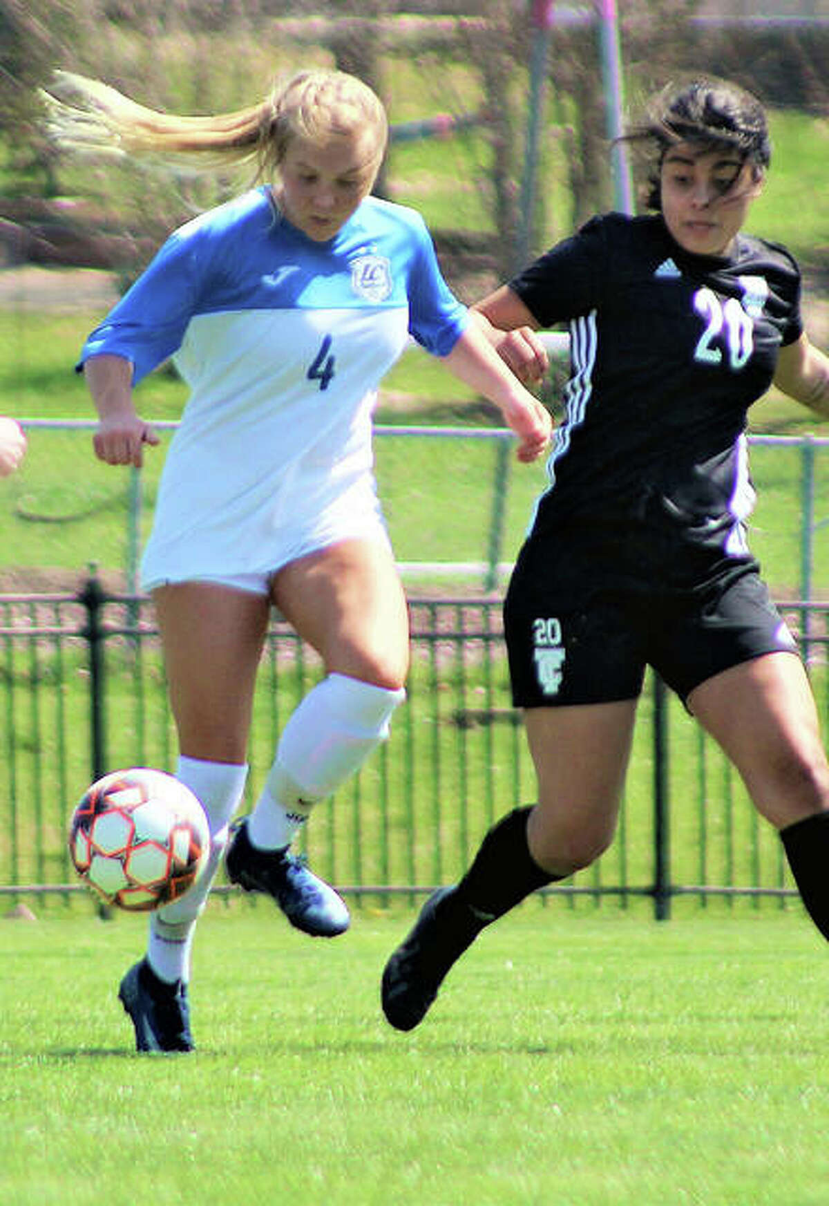 LCCC's Skylar Hollingshead (4) scored all three goals for the Trailblazers in Tuesday's 3-0 victory over Wabash Valley College in Mount Carmel.