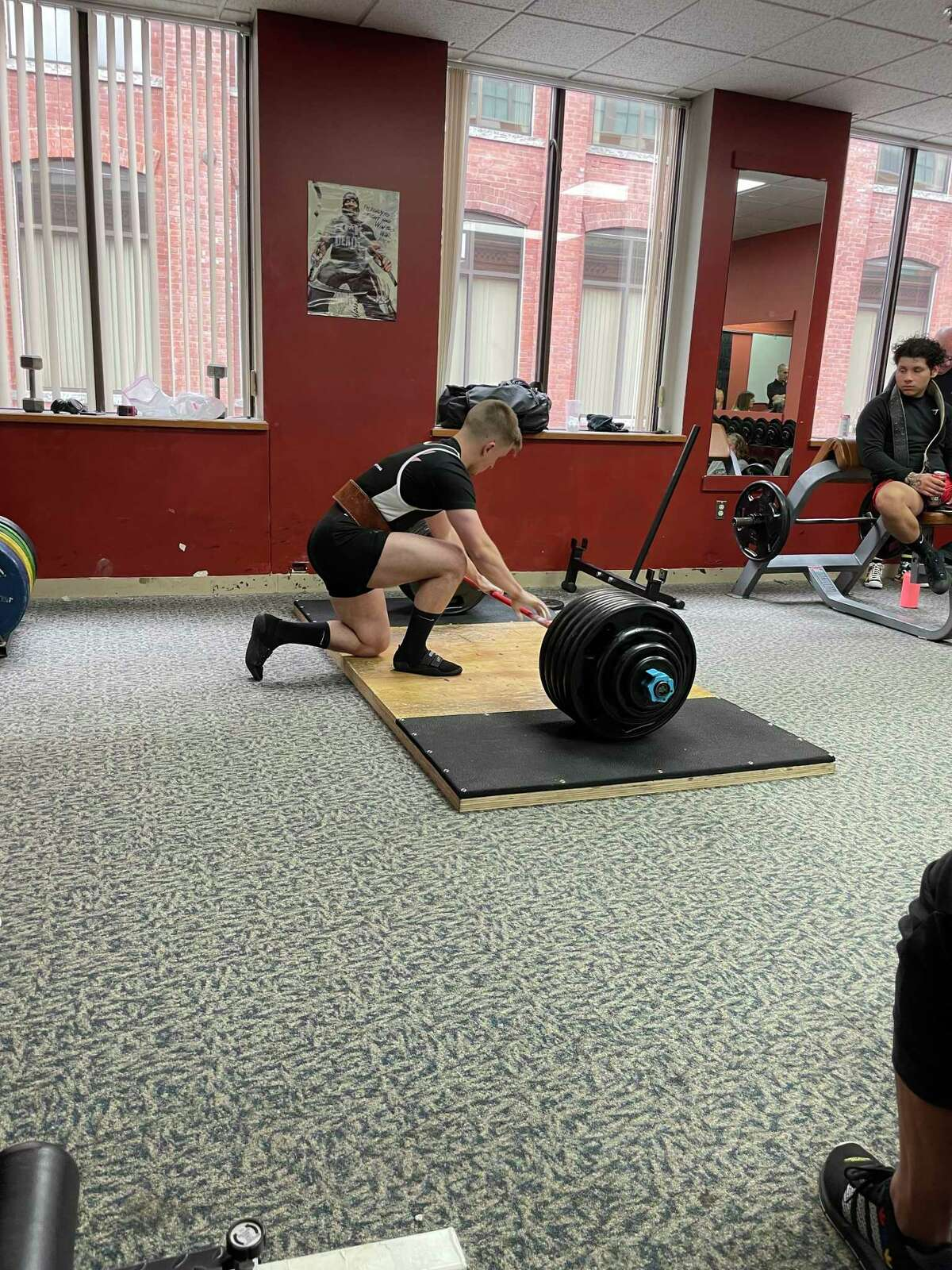 Energy Fitness Factory, 59 Field St., Torrington, launched its fall food drive for FISH with a weight lifting competition. The drive continues through October. Nick Sparks was the winner of the men's competition.