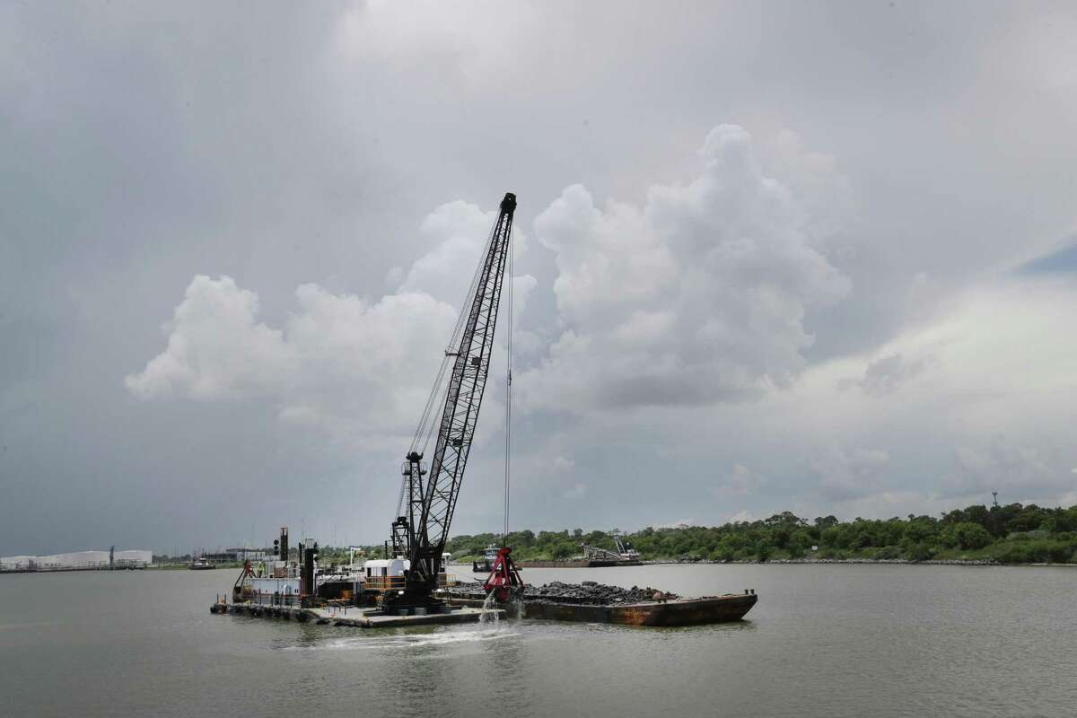 A dredge removes sediment on Wednesday, July 14, 2021.