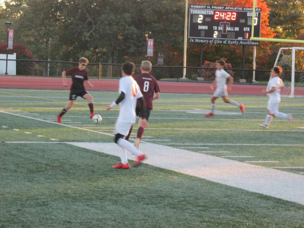Chase Gurtowsky found time to play defense for the Raiders in the midst of his hat trick in a Torrington win over Wolcott Tuesday night at the Robert H. Frost Sports Complex.