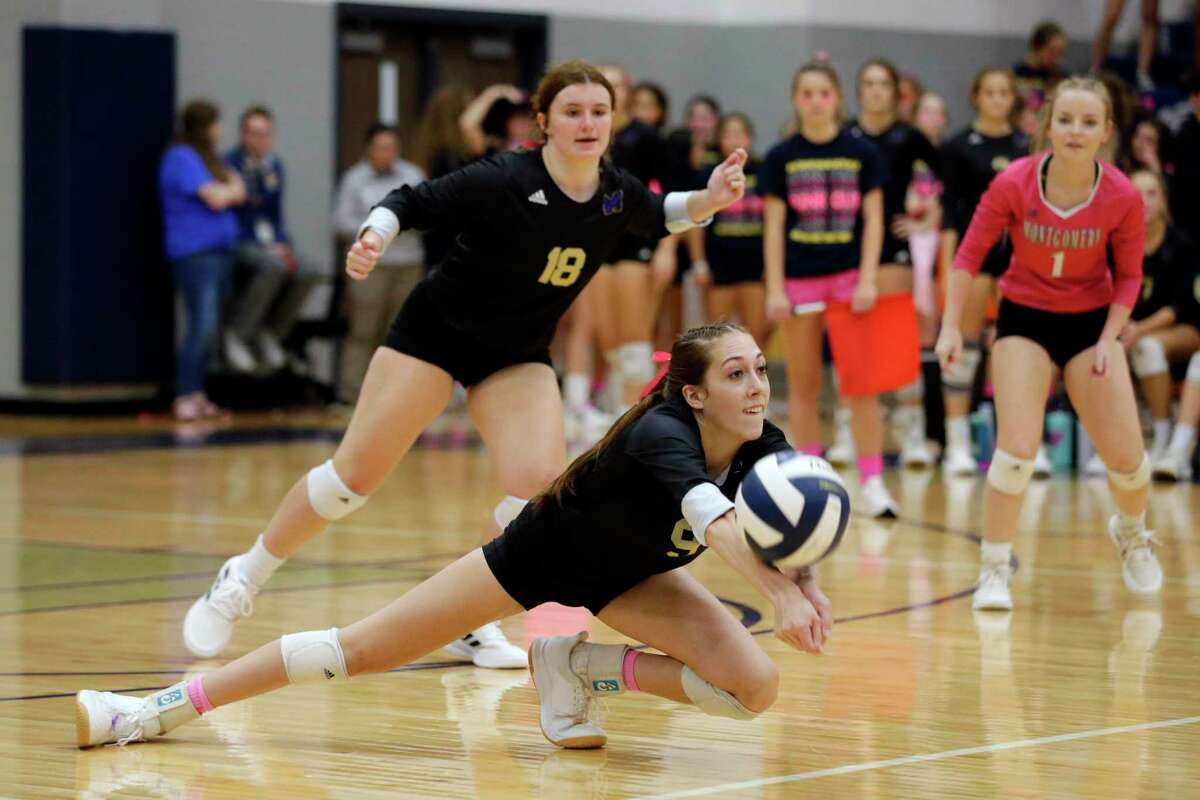 Montgomery's Taryn McAnally (9) digs during their regular season District 20-5A volleyball match against Lake Creek at Lake Creek High School Tuesday, Oct. 12, 2021 in Houston, TX.