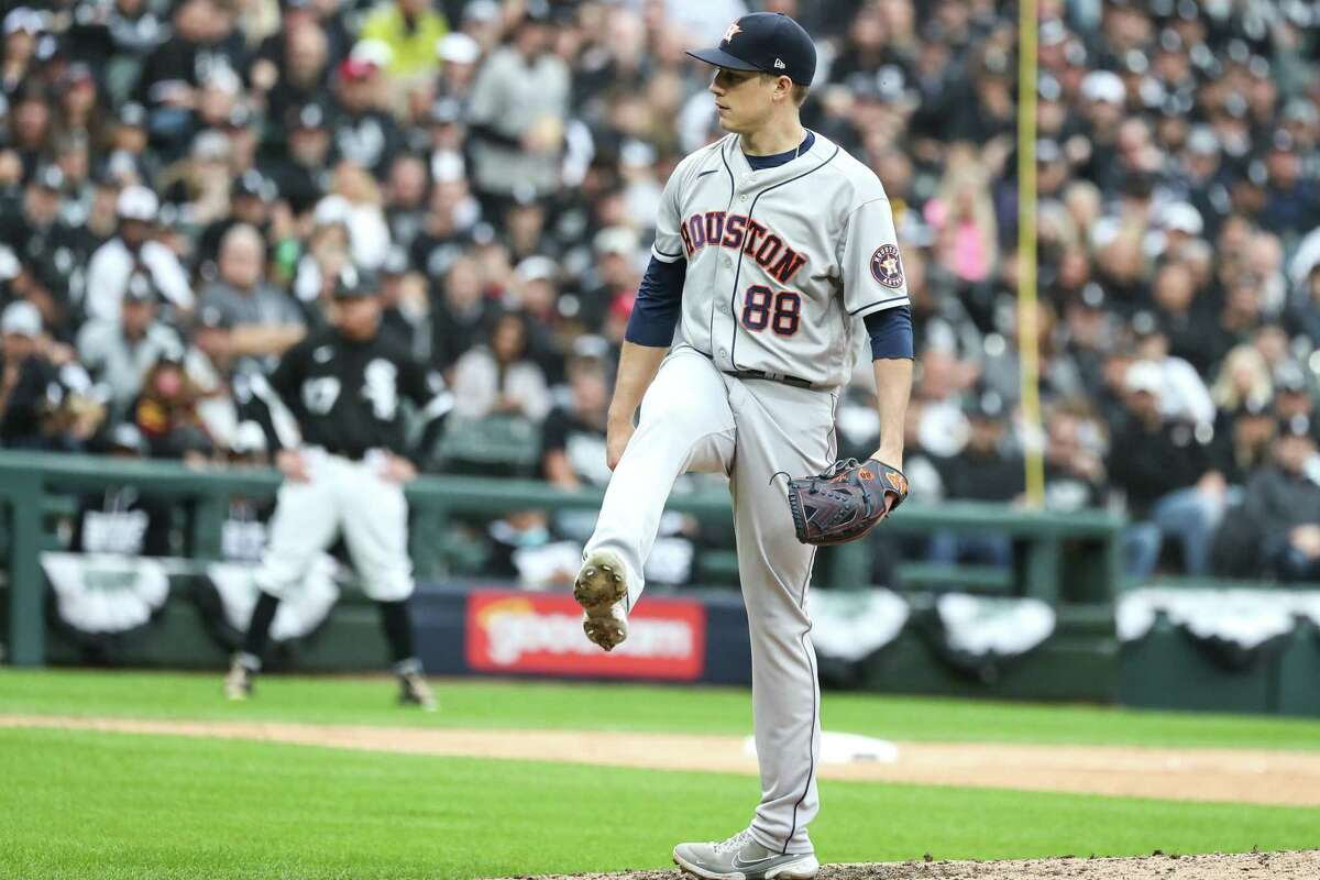 Astros reliever Phil Maton, who recorded five outs Tuesday, had a kick in his step after fanning Chicago's Eloy Jimenez to end the sixth inning.