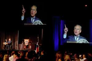 Governor Greg Abbott was the keynote speaker at the annual Beaumont Chamber of Commerce's meeting. Photo made Tuesday, October 12, 2021 Kim Brent/The Enterprise
