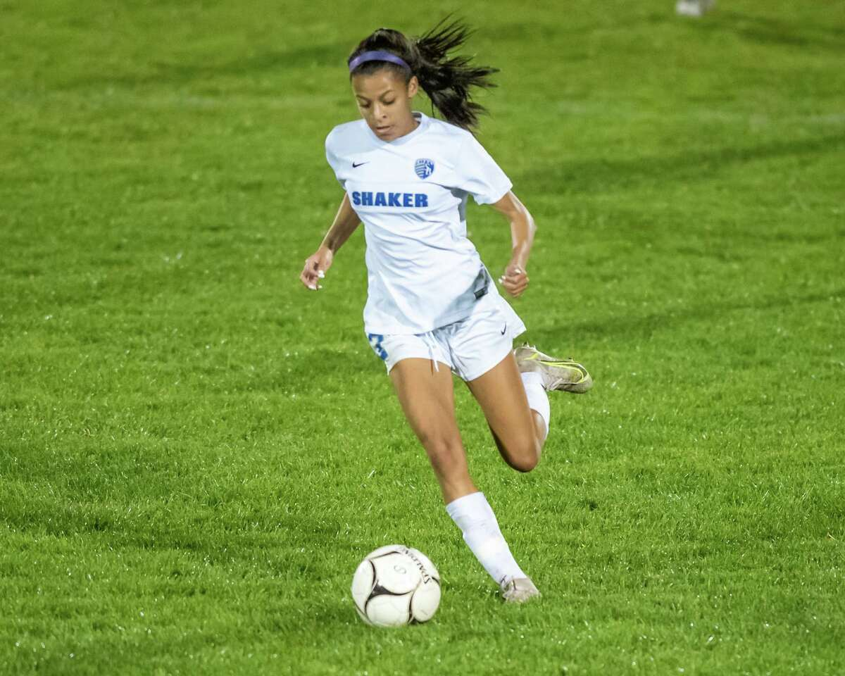 Shaker midfielder Mayah Wheeler winds up during a Suburban Council matchup against Colonie at Colonie High School in Colonie, NY, on Tuesday, Oct. 12, 2021. (Jim Franco/Special to the Times Union)