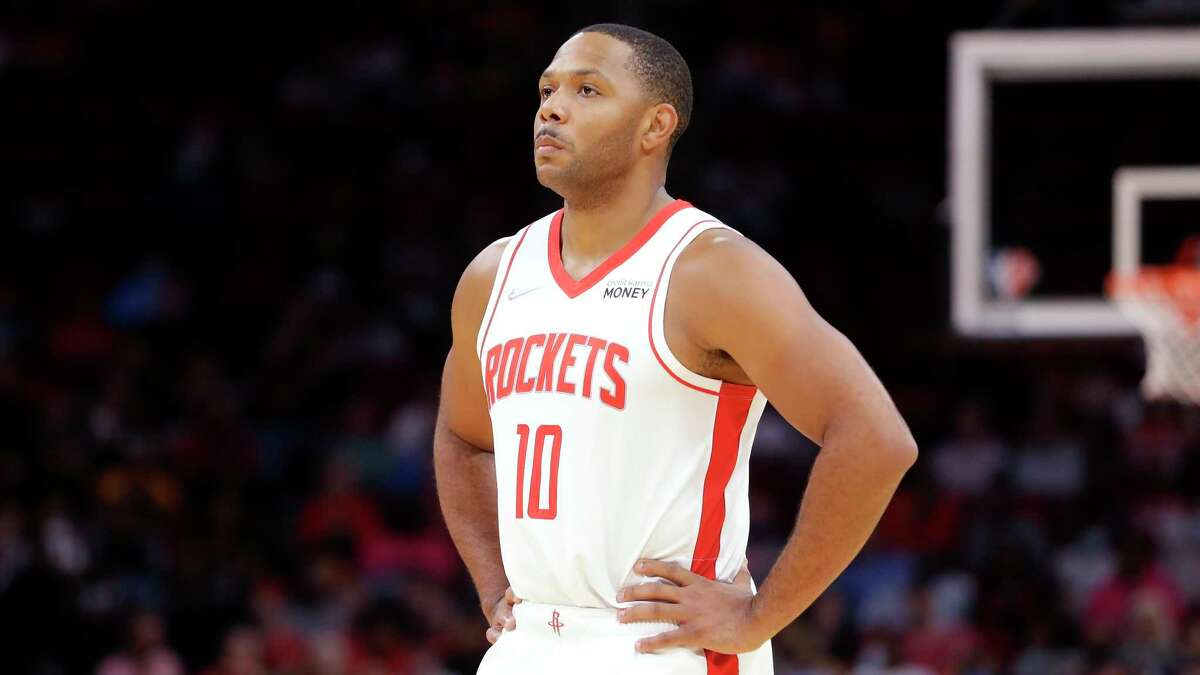 Houston Rockets guard Eric Gordon (10) during the first half of an NBA basketball game against the Washington Wizards Tuesday, Oct. 5, 2021, in Houston. (AP Photo/Michael Wyke)
