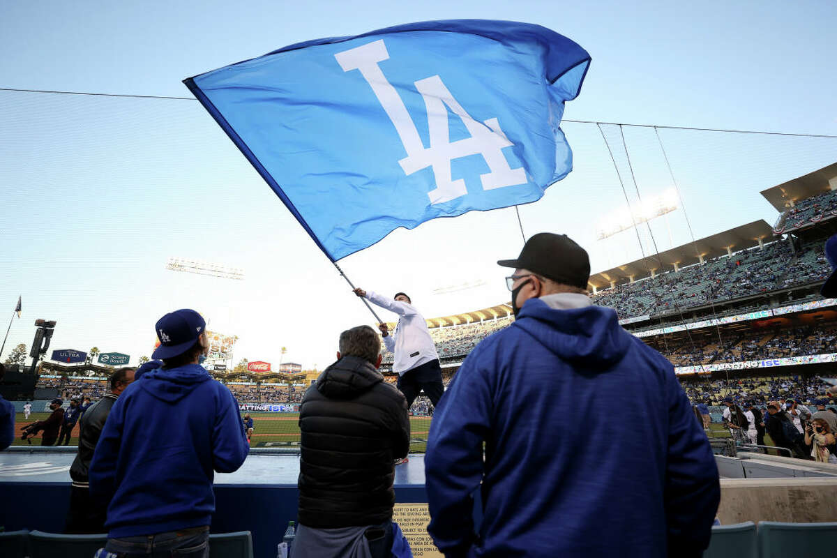 Fans look on during game 4 of the National League Division Series between the Los Angeles Dodgers and the San Francisco Giants at Dodger Stadium.