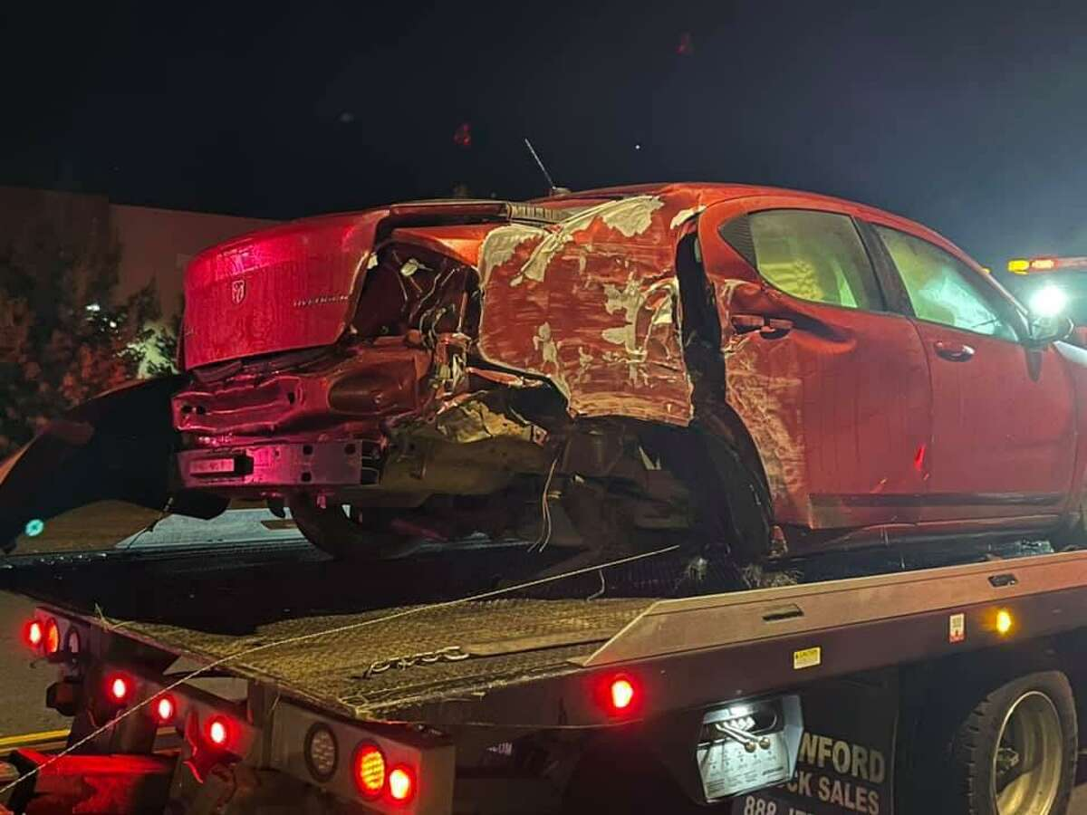 A tractor-trailer and a car collided on Route 194 - Sullivan Avenue - and Rye Street in South Windsor, Conn., on Tuesday, Oct. 12, 2021.