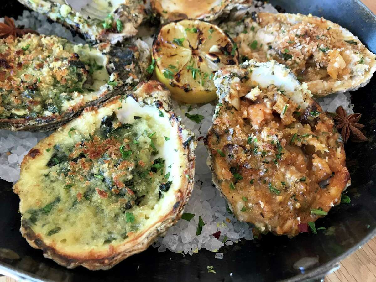 Bienville and Rockefeller oysters at Pier 6 in San Leon