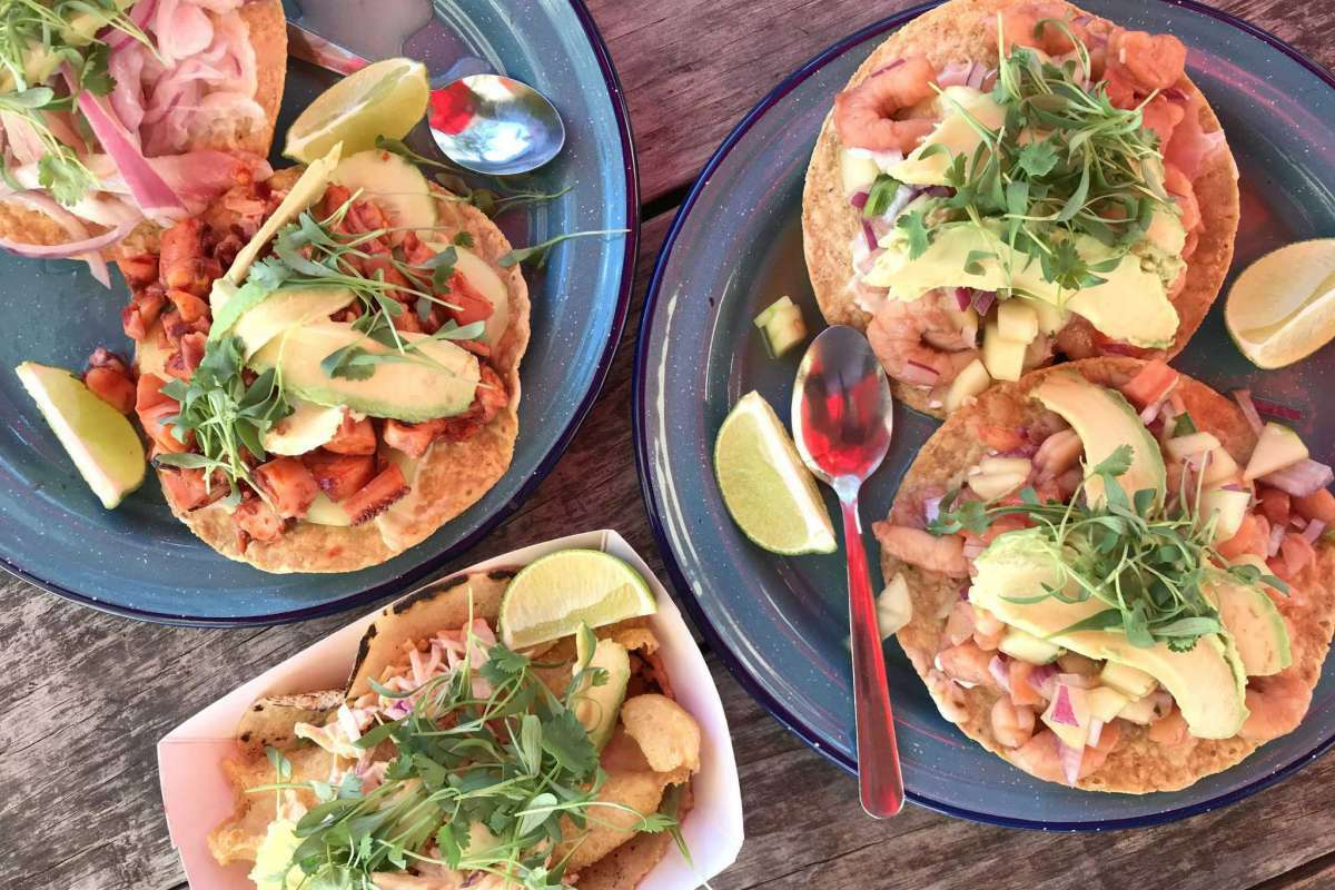 Fish Lonja serves fish tacos and tostadas topped with fish, shrimp or octopus out of a small building on the backside of the Carnitas Lonja property.