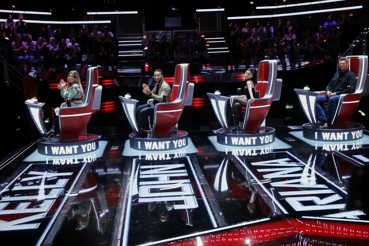 """THE VOICE -- """"Blind Auditions"""" Episode 2105 -- Pictured: (l-r) Kelly Clarkson, John Legend, Ariana Grande, Blake Shelton -- (Photo by: Trae Patton/NBC/NBCU Photo Bank via Getty Images)"""