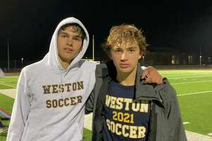 Weston boys soccer seniors Max Hutton and Max Weiss.