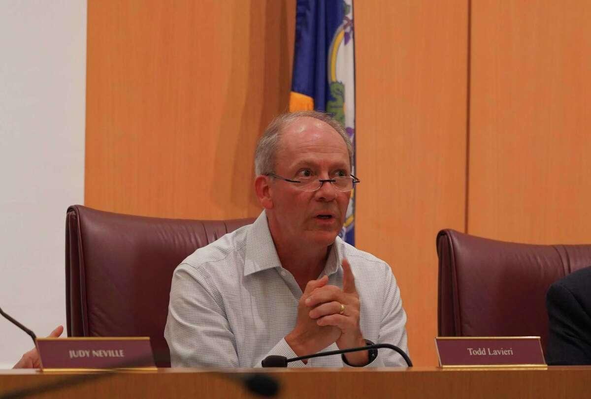 Chairman of the Board of Finance in New Canaan Todd Lavieri spoke on Oct. 12, 2021 on behalf of giving teachers a bonus.