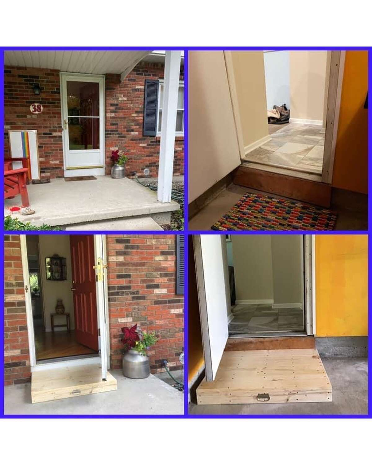 Examples of risers placed outside doorways to reduce the height of the steps.