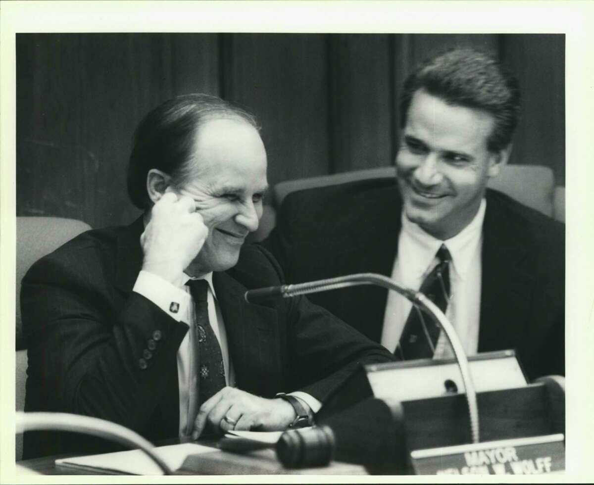 City Council -- Nelson Wolff and Lyle Larson (right).