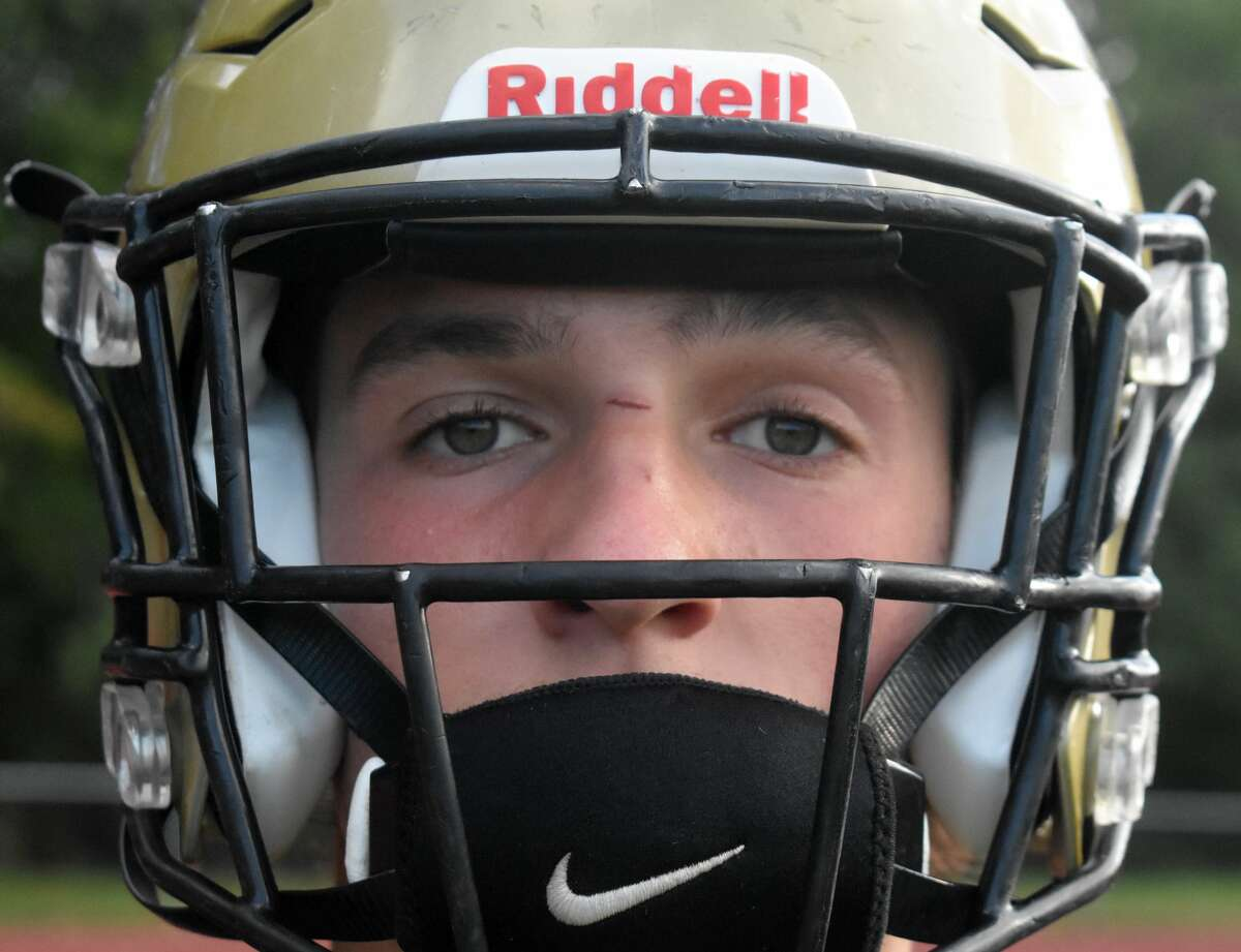 Hand's Seth Sweitzer is the 12th member of the Sweitzer family to play for the Hand football program. Sweitzer poses at Hand high school, Madison on Monday, Oct. 11, 2021..