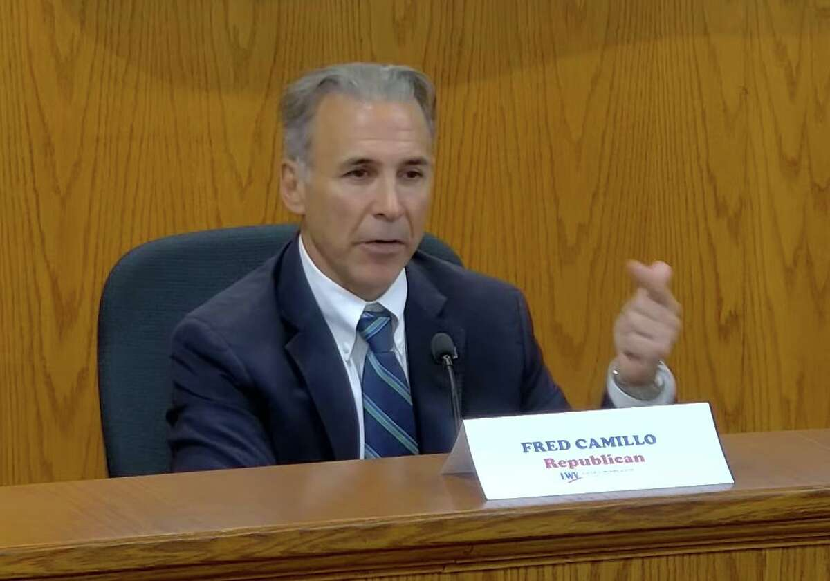 Republican incumbent Fred Camillo takes part in the first selectman debate on Tuesday night from Town Hall and via Zoom against Democratic challenger William Kelly.