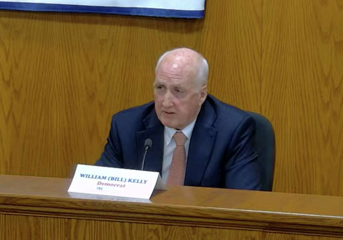 Democratic challenger William Kelly takes part in the first selectman debate on Tuesday night from Town Hall and via Zoom against Republican incumbent Fred Camillo.
