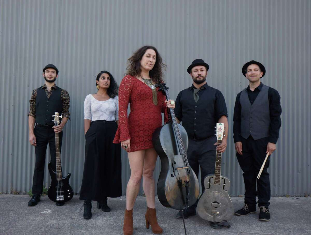 Rebecca Roudman is shown with her San Francisco-based blues and bluegrass band, Dirty Cello.