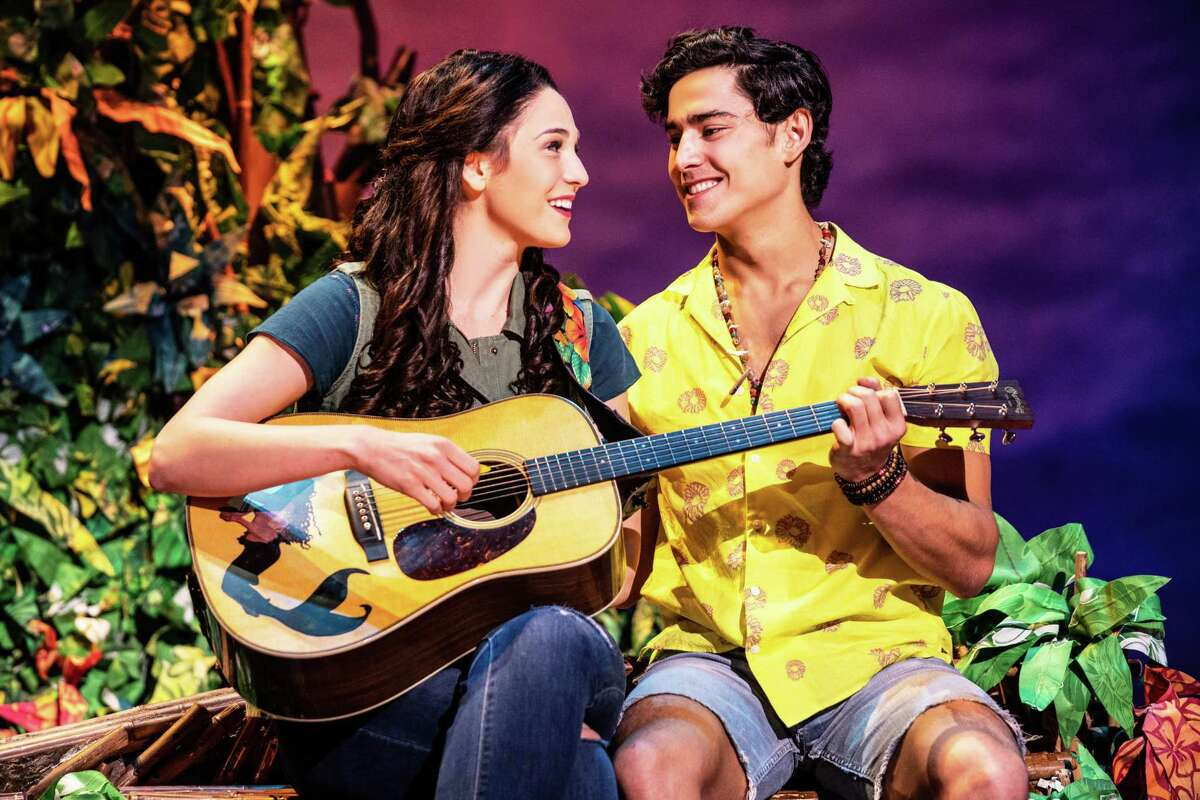 """Sarah Hinrichsen stars as Rachel and Chris Clark as Tully in Jimmy Buffett's """"Escape to Margaritaville"""" at the Bushnell Theater in Hartford."""