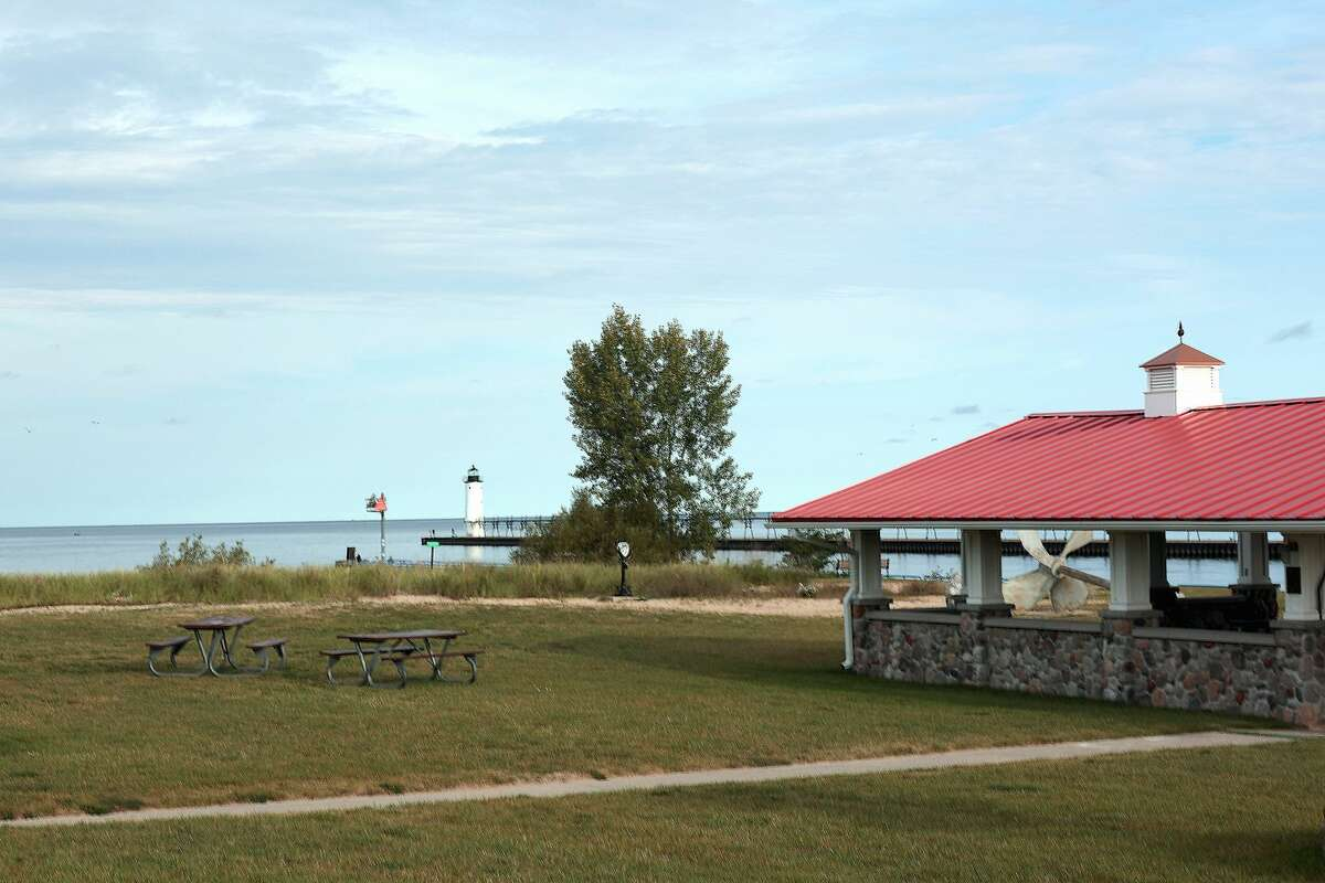 Douglas park Overlooks the pier at First Street Beach in Manistee. Improving the pier is part of the city priorities for the five-year Manistee County Draft Master plan for Manistee County Parks.