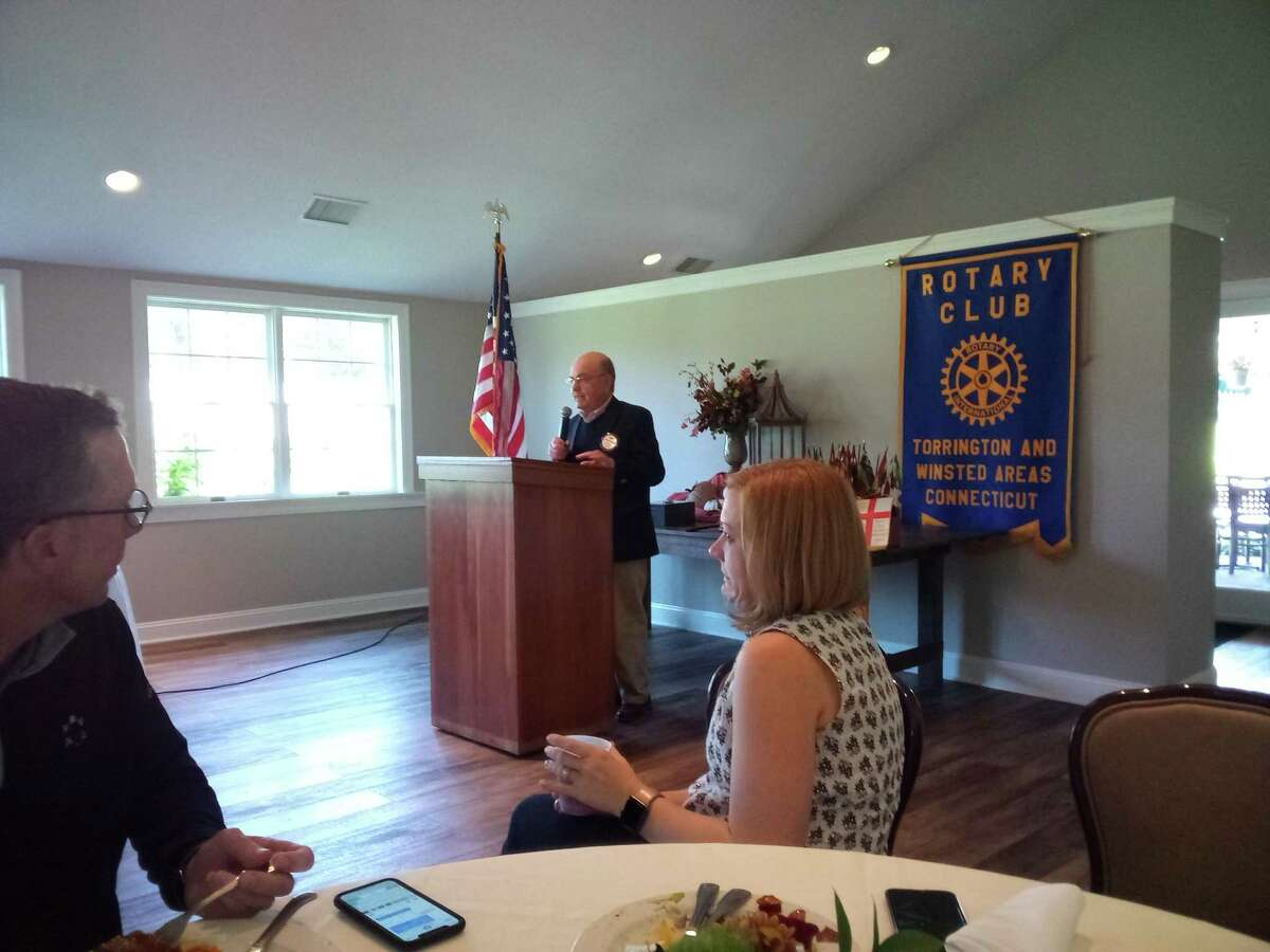 Democratic candidate for mayor Stephen Ivain spoke to members of the Torrington-Winsted Rotary Club Oct. 13.