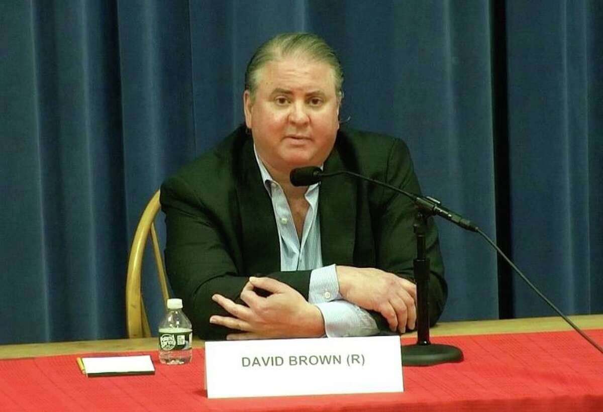 Darien Republican Board of Education member David Brown made a gesture during last week's candidates forum that Democrats have claimed may have been a white supremacy symbol.