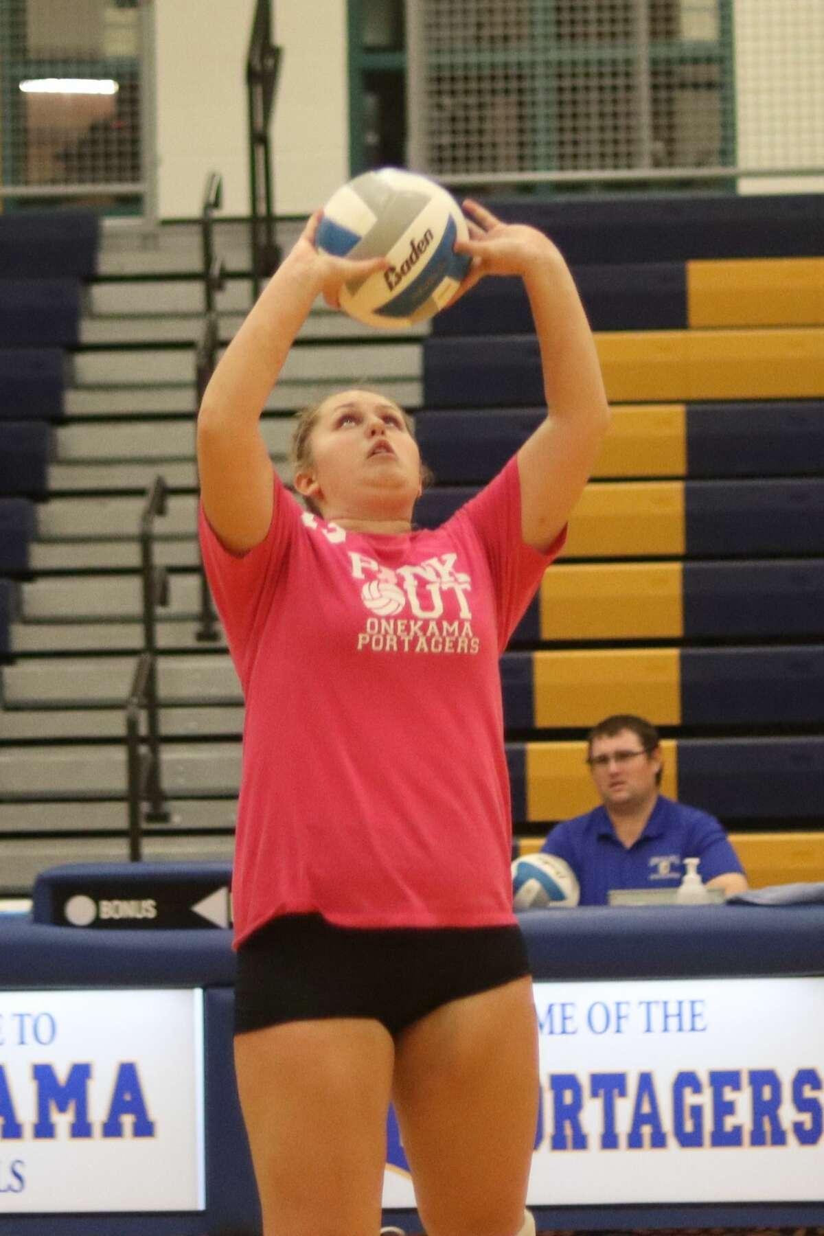 Onekama hosts Glen Lake in girls volleyball on Oct. 12.