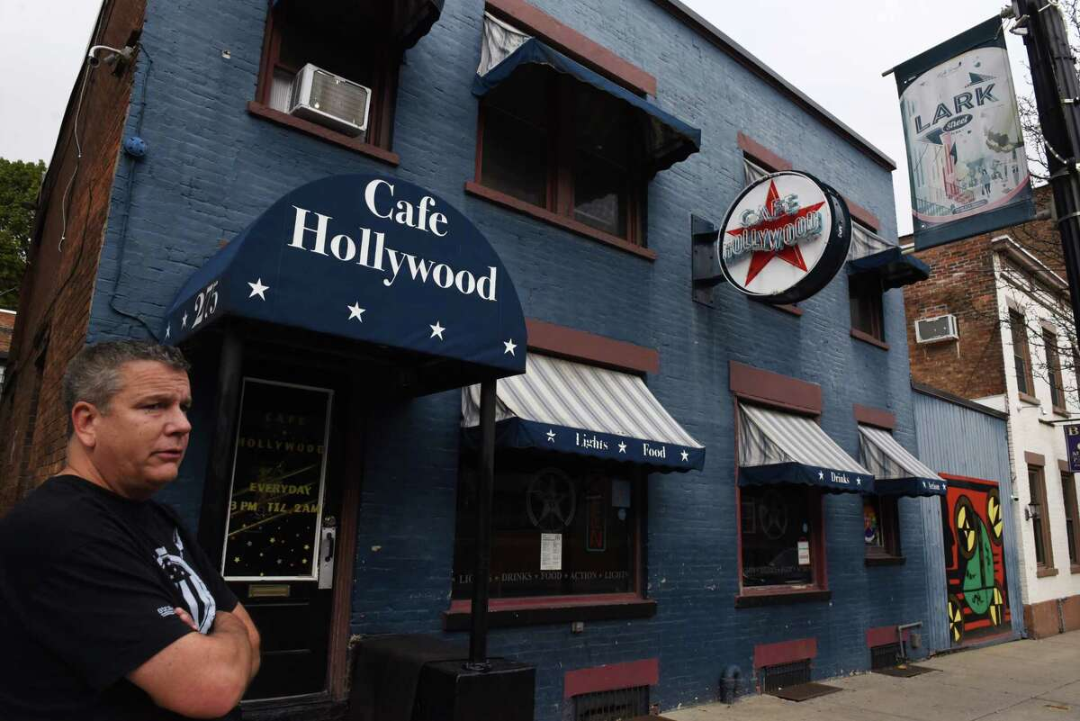 Cafe Hollywood owner Collin Rost plans to reopen his bar now that the city has lifted its closure order on Wednesday, Oct. 13, 2021, on Lark Street in Albany, N.Y. The city said that the bar can reopen with restrictions. It was closed under a state of emergency as the city dealt with a spate of violence.