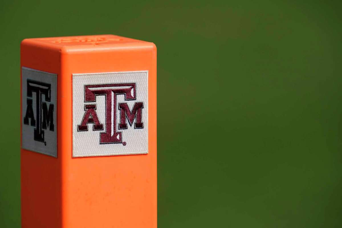The Texas A&M block logo is shown on an end zone marker on Saturday, Sept. 18, 2021, in College Station, Texas.