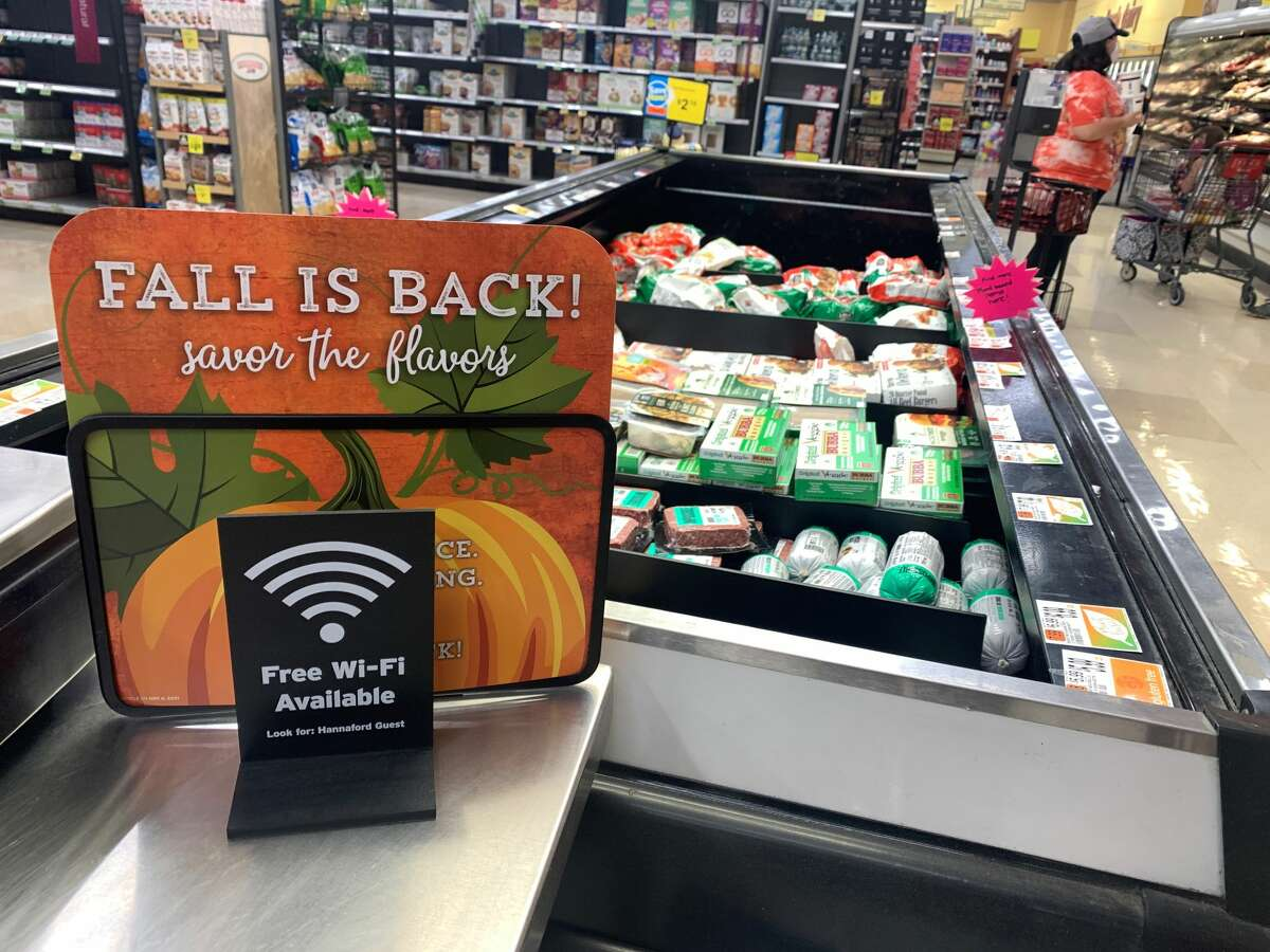 Fall-themed displays were up in theHannaford supermarket in Plattsburgh on Oct. 10, the day before Canadian Thanksgiving. But with the border still closed, there were few requests for turkeys. (Rebekah F. Ward/Times Union)