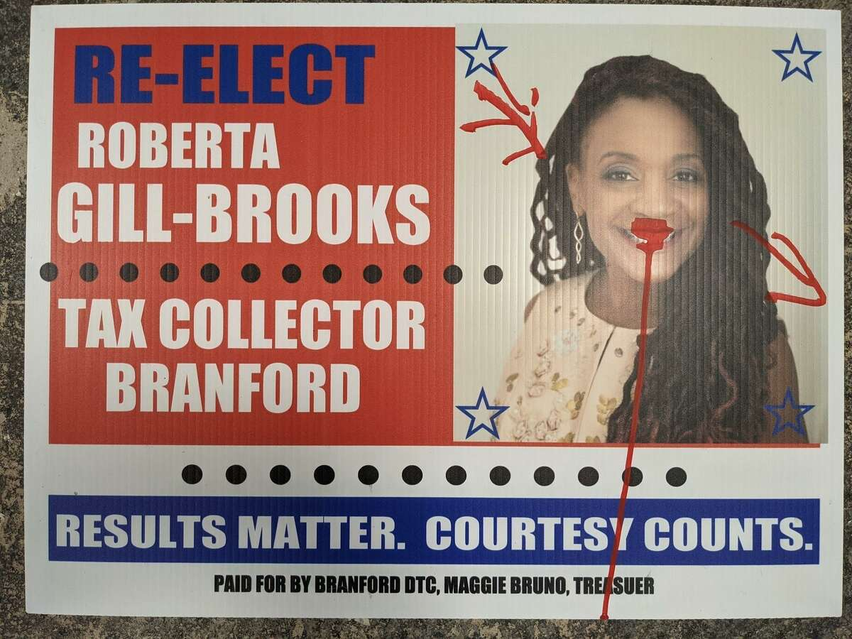 A campaign lawn sign for Branford Town Clerk Roberta Gill-Brooks' reelection campaign was one of roughly a dozen signs reportedly vandalized in the Short Beach neighborhood this weekend. Both Republicans and Democrats said their signs were impacted.