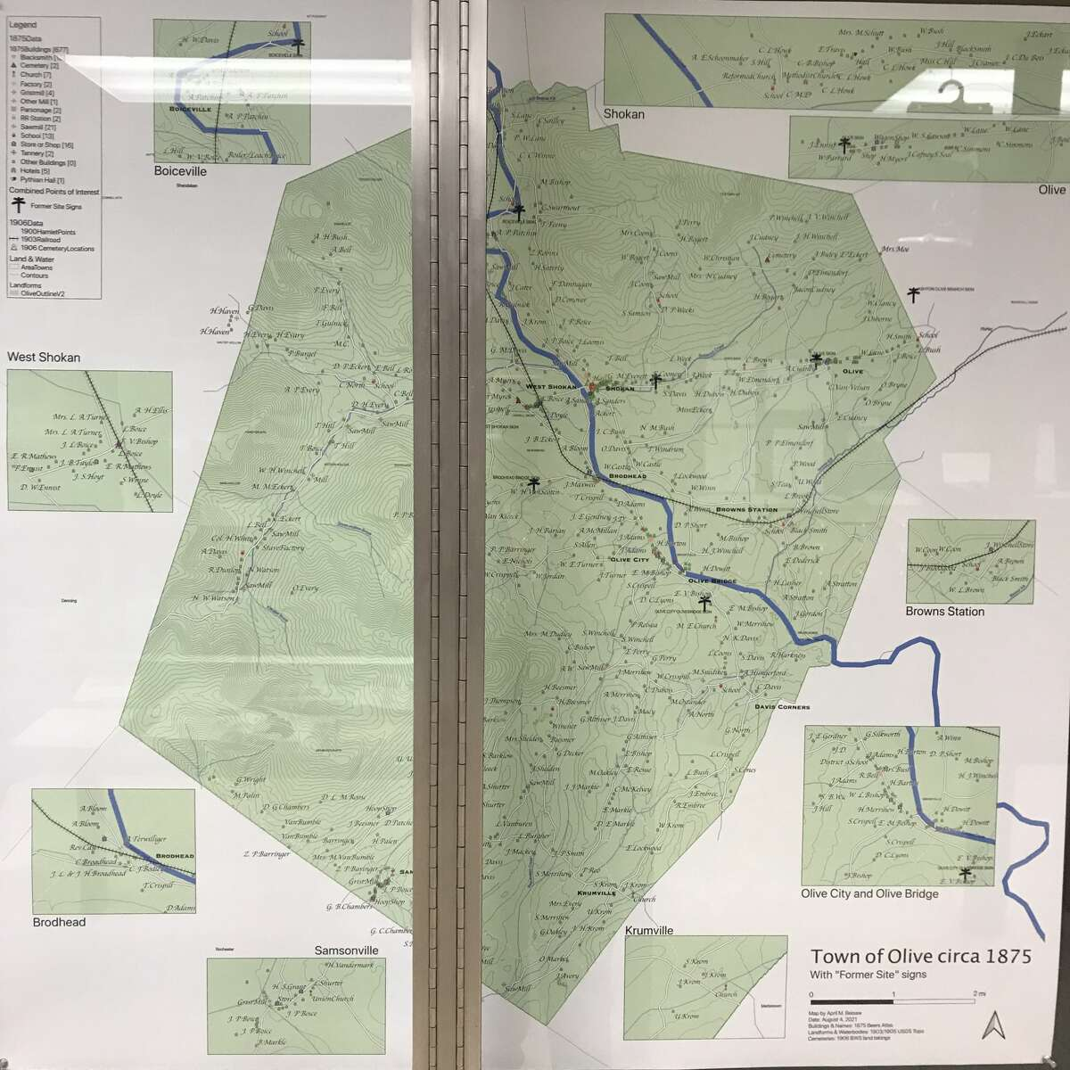 """The Olive Free Library is hosting an exhibit, """"Our Lost Community: Life Before the Reservoir,"""" featuring ledgers, maps, deeds and numerous photos of the old hamlets. Dr. Beisaw contributed this map of the original location of the hamlets displaced and destroyed in the making of the reservoir."""