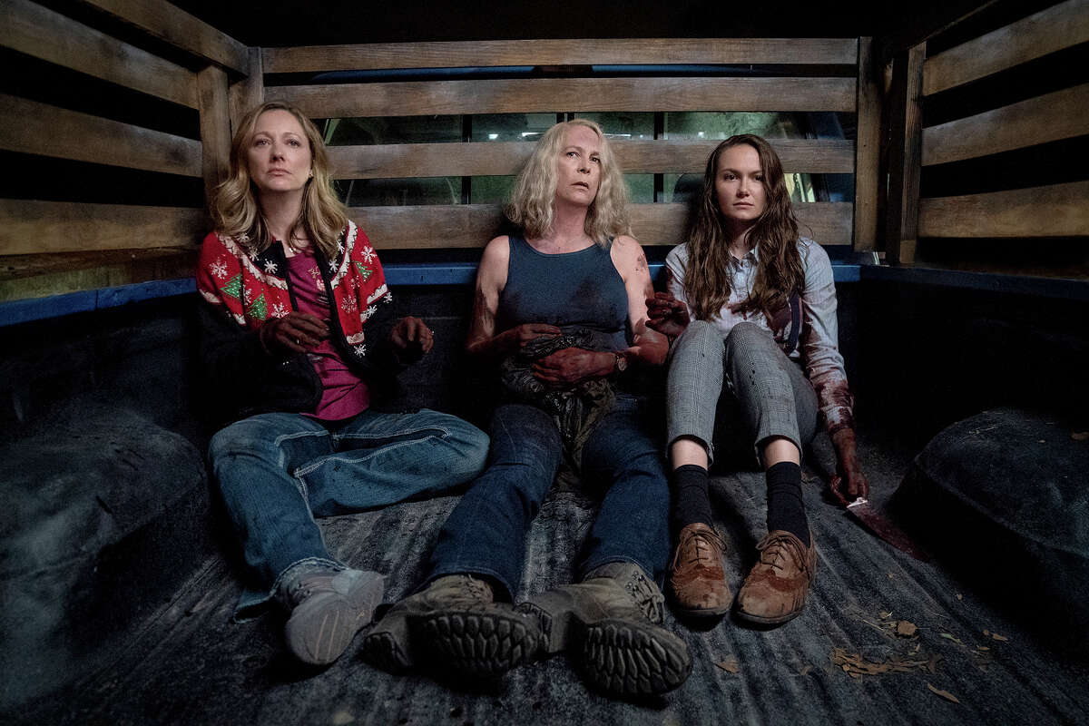 """From left: Judy Greer, Jamie Lee Curtis and Andi Matichak in """"Halloween Kills."""""""
