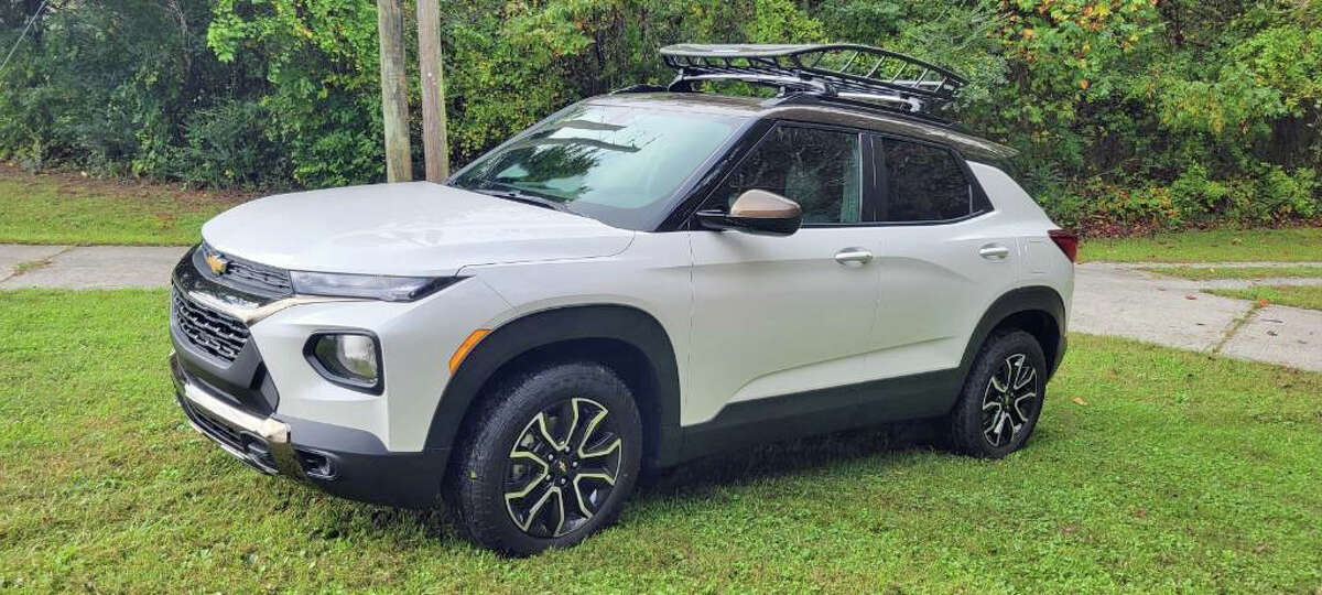 The 2022 Chevrolet Trailblazer is a small crossover utility vehicle. It's shown here in the ACTIV trim level, with the accessory top cargo basket.