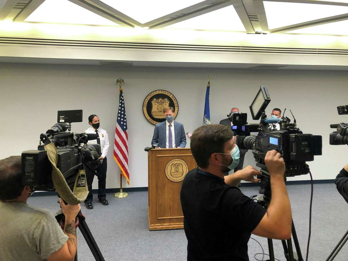 Mayor Justin Elicker and Interim Chief Renee Dominguez gave their weekly briefing on gun violence and policing matters in New Haven Wednesday.