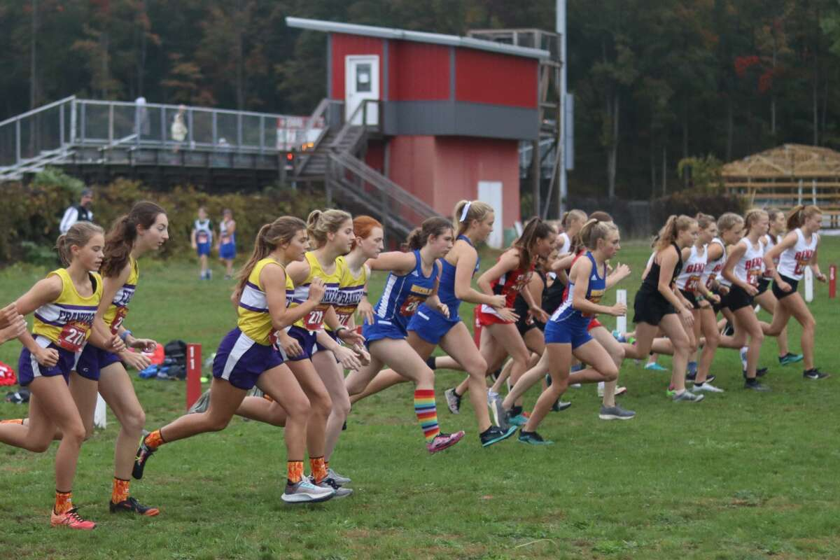 Runners from Benzie Central and Frankfort compete in the final Northwest Conference cross country meet on Oct. 12.