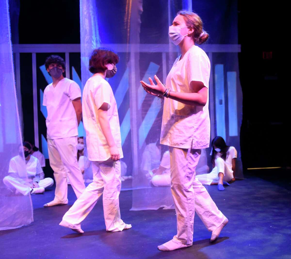 """GHS junior Abigail White performs the role of Cassius at the rehearsal of """"Julius Caesar"""" at Greenwich High School's Blackbox Theater in Greenwich, Conn. Monday, Oct. 11, 2021. GHS Theater Arts will perform the renowned Shakespeare tragedy """"Julius Caesar"""" on Oct. 15-16 and Oct. 21-23. This will be the performance in a year and a half at the school's smaller Blackbox Theater."""