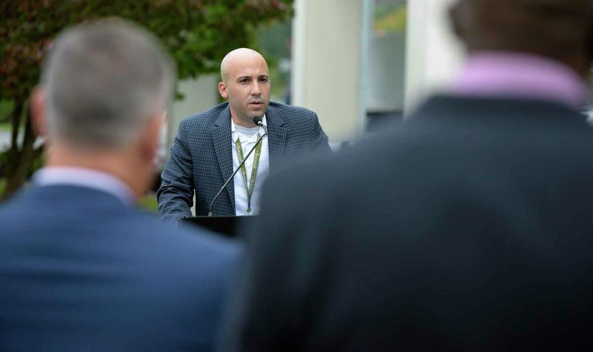 Carl Tirella, Acreage Holdings's general manager in Connecticut, during the opening ceremony for The Botanist, the new medical marijuana dispensary, on Mill Plain Road. The Botanist is owned by Acreage Holdings. Wednesday morning. October 13, 2021, in Danbury, Conn.