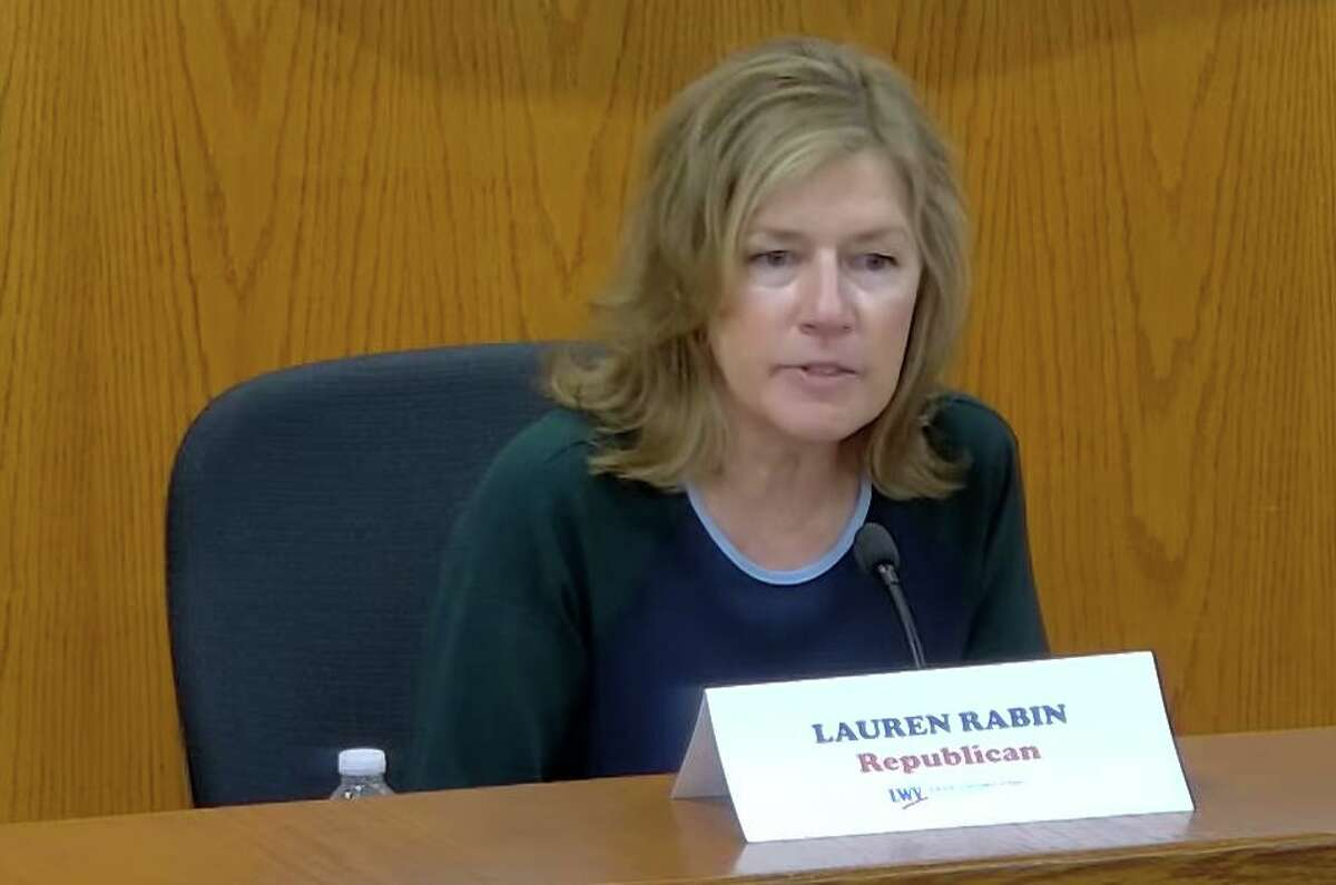 Republican incumbent Selectwoman Lauren Rabin takes part in the Board of Selectmen debate against Democratic challenger Janet Stone McGuigan on Tuesday night at Town Hall and via Zoom.