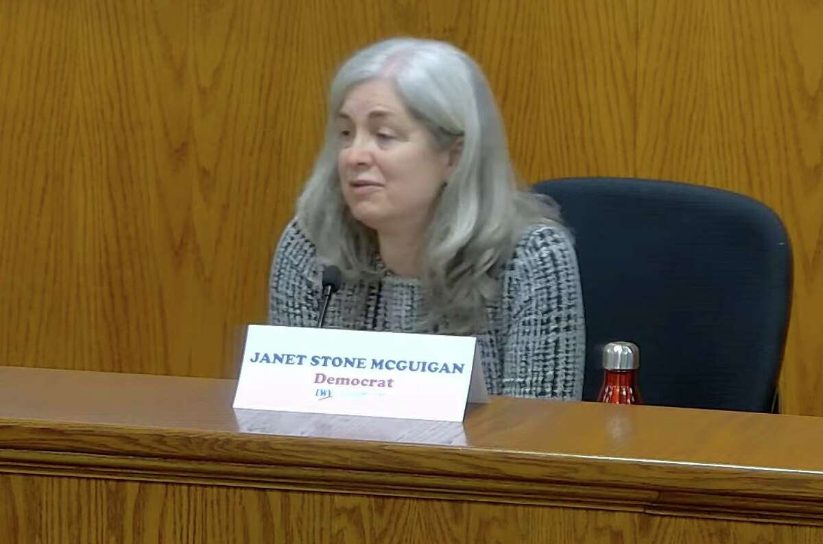 Democratic challenger Janet Stone McGuigan takes part in the Board of Selectmen debate against Republican incumbent Selectwoman Lauren Rabin on Tuesday night at Town Hall and via Zoom.