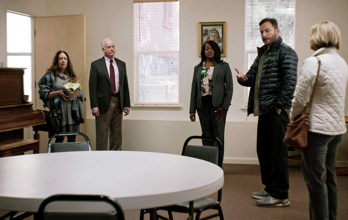 """From left: Ann Dowd, Reed Birney, Michelle N. Carter, Jason Isaacs and Martha Plimpton in """"Mass."""""""