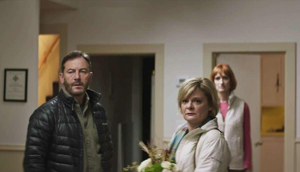 "From left: Jason Isaacs, Martha Plimpton and Breeda Wool in ""Mass."""