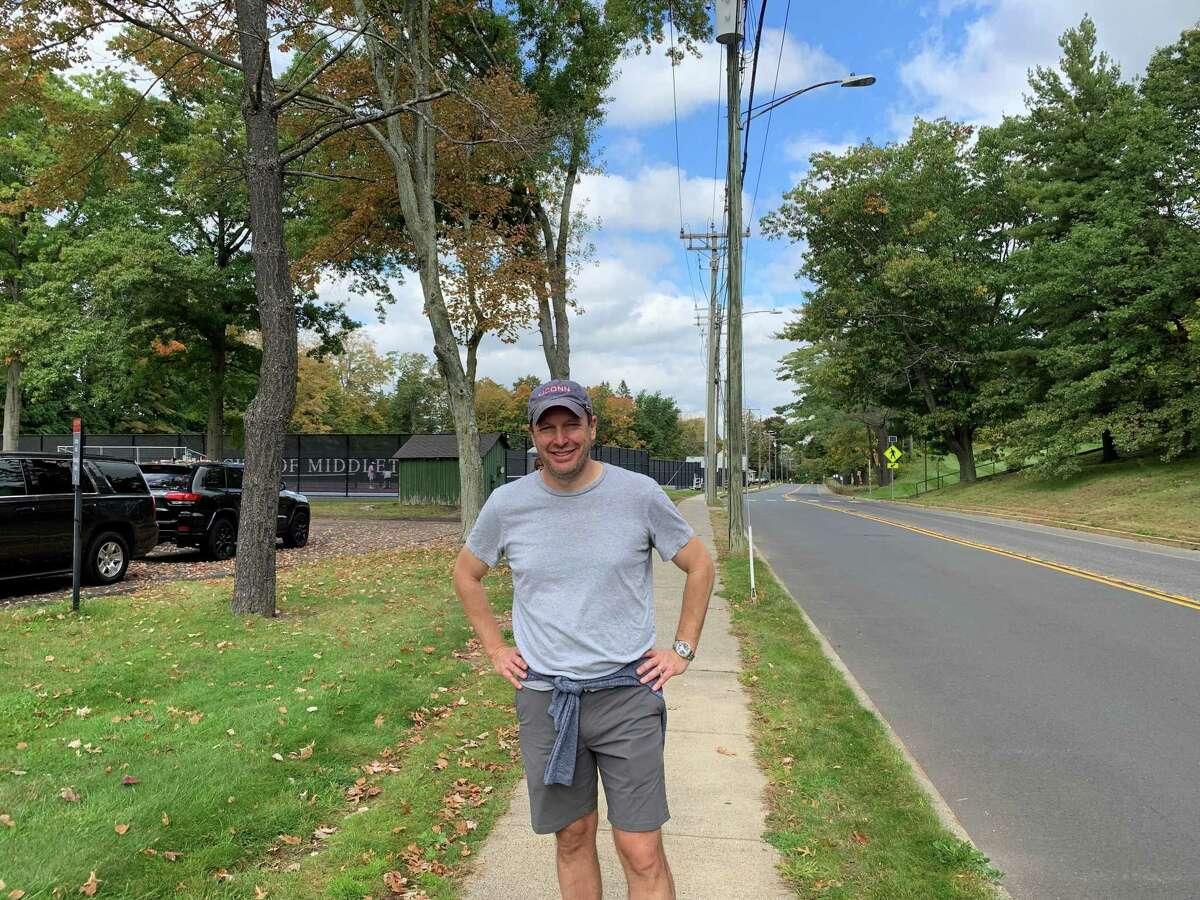 "U.S. Sen. Chris Murphy passed through Wesleyan University in Middletown Wednesday as part of his fifth ""Walk Across Connecticut."""
