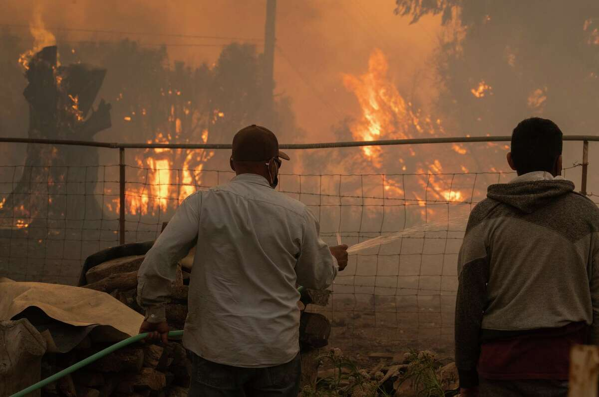 The Alisal Fire burns at a ranch near Goleta on Tuesday. The Santa Barbara County fire has torched over 6,000 acres and shutdown Highwayt 101 along the Pacific Coast.