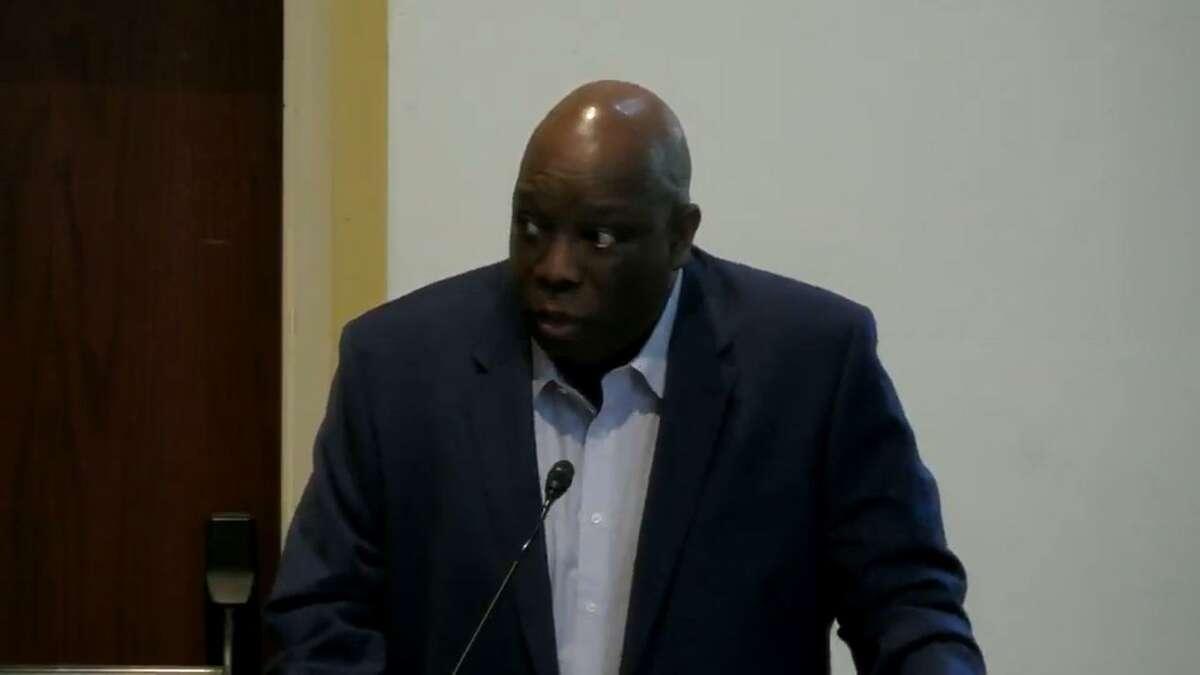 Harold Bailey Jr., chair of Team Westport, spoke at the Board of Selectmen meeting on Oct. 13, 2021.