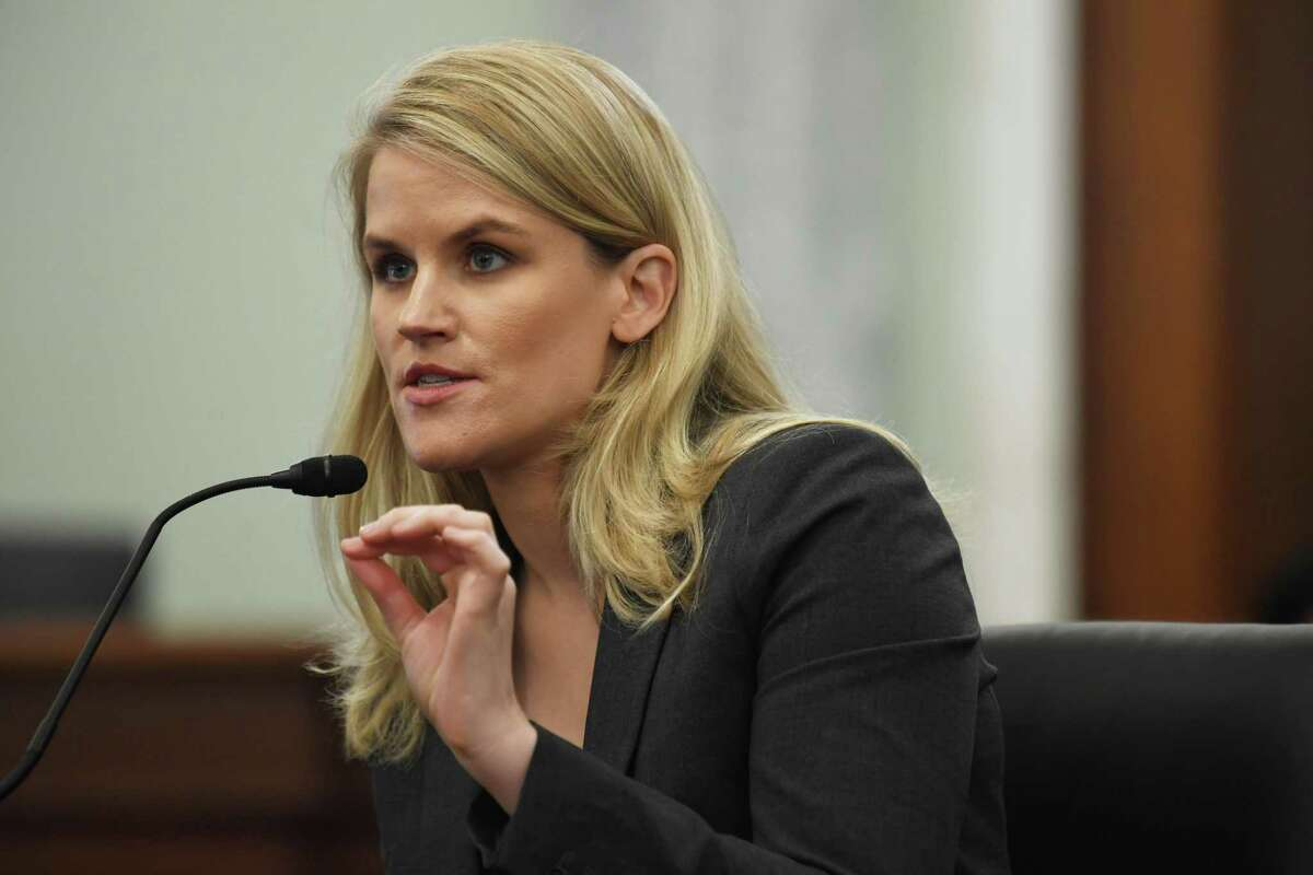 Facebook whistleblower Frances Haugen appears before the Senate Commerce, Science, and Transportation Subcommittee in Washington on Oct. 5, 2021. (Washington Post photo by Matt McClain.)