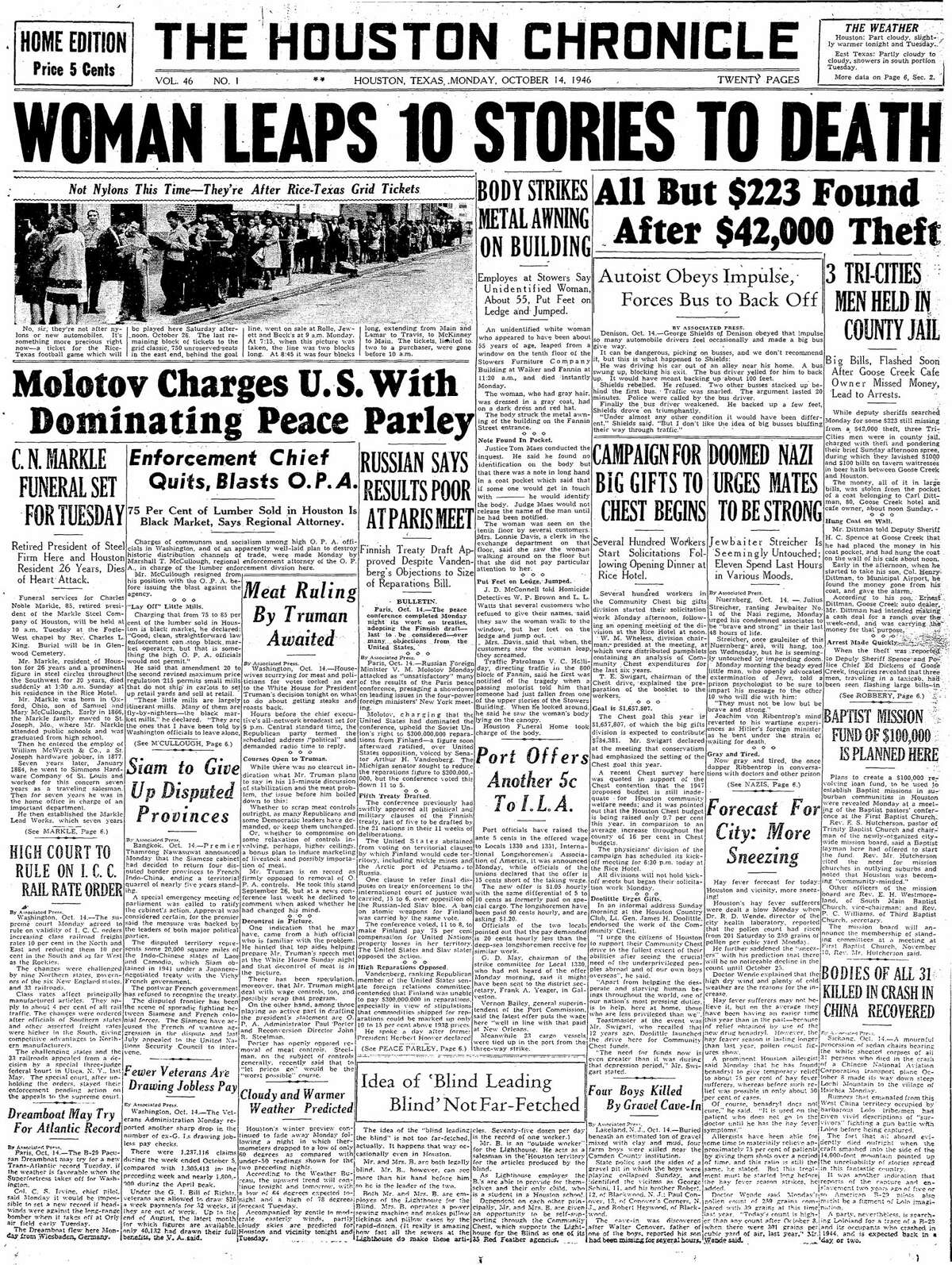 Houston Chronicle front page for Oct. 14, 1946.