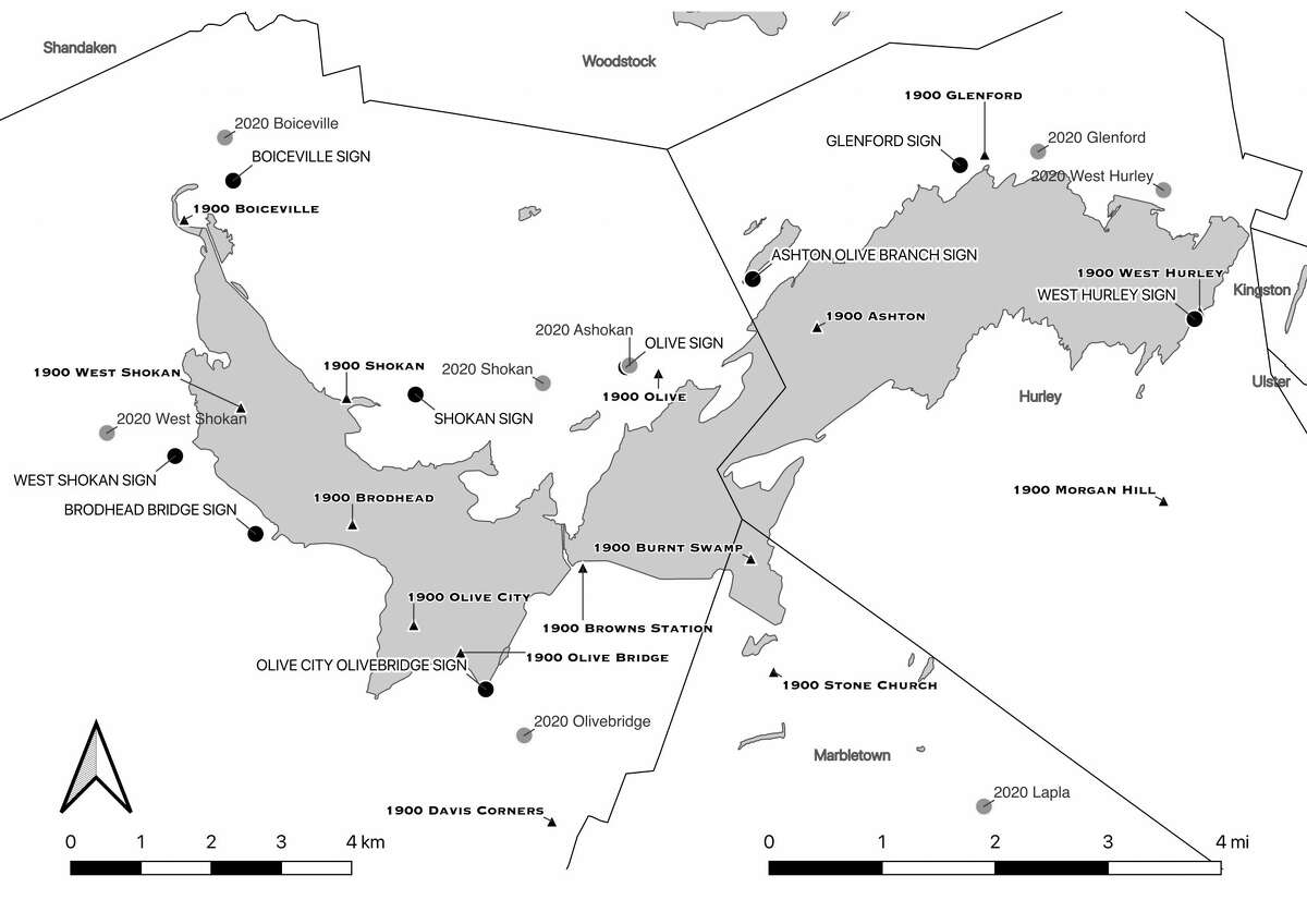 A map created by Dr. Beisaw indicating the site of the hamlets in the 1900s versus present day, and how they relate to the former site markers along the reservoir.