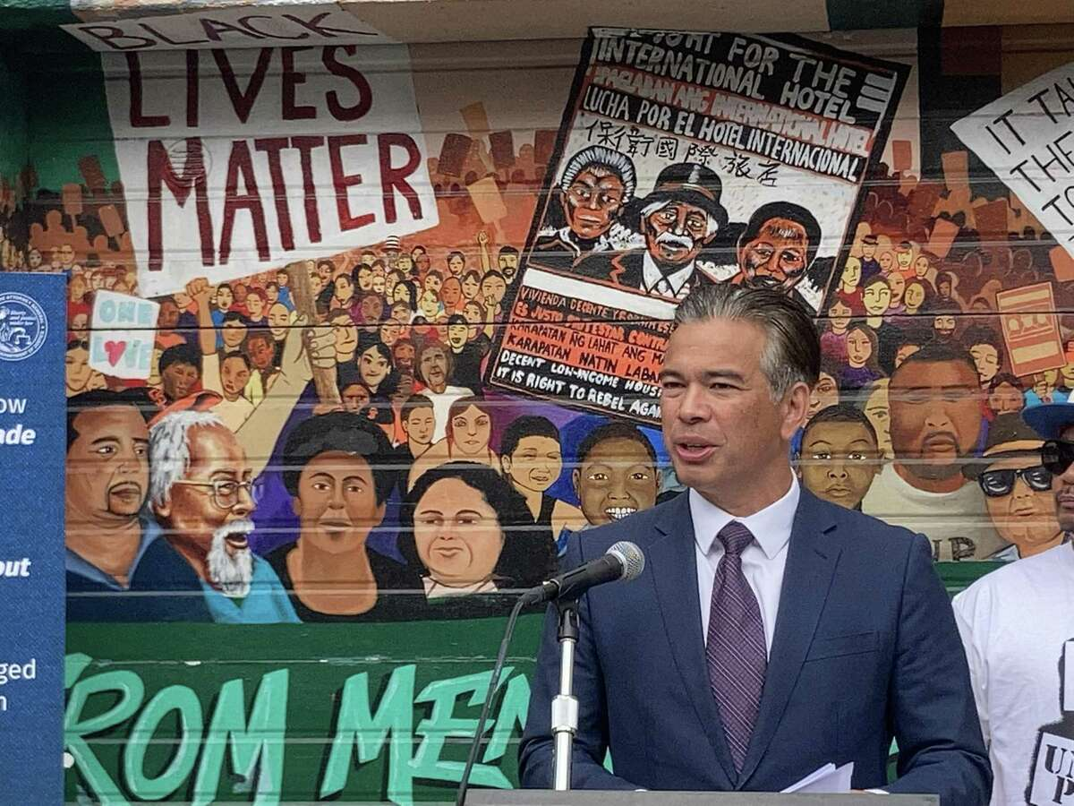 Attorney General Rob Bonta at a news conference to announce a major development in the lawsuit against three manufacturers of ghost guns at the United Playaz Violence Prevention Program on Tuesday in San Francisco.
