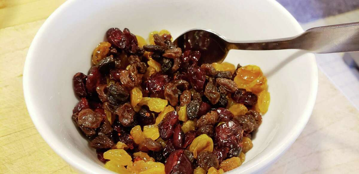 Dried cranberries added a tart native fruit flavor to the raisins and sultanas - all soaked in rum.